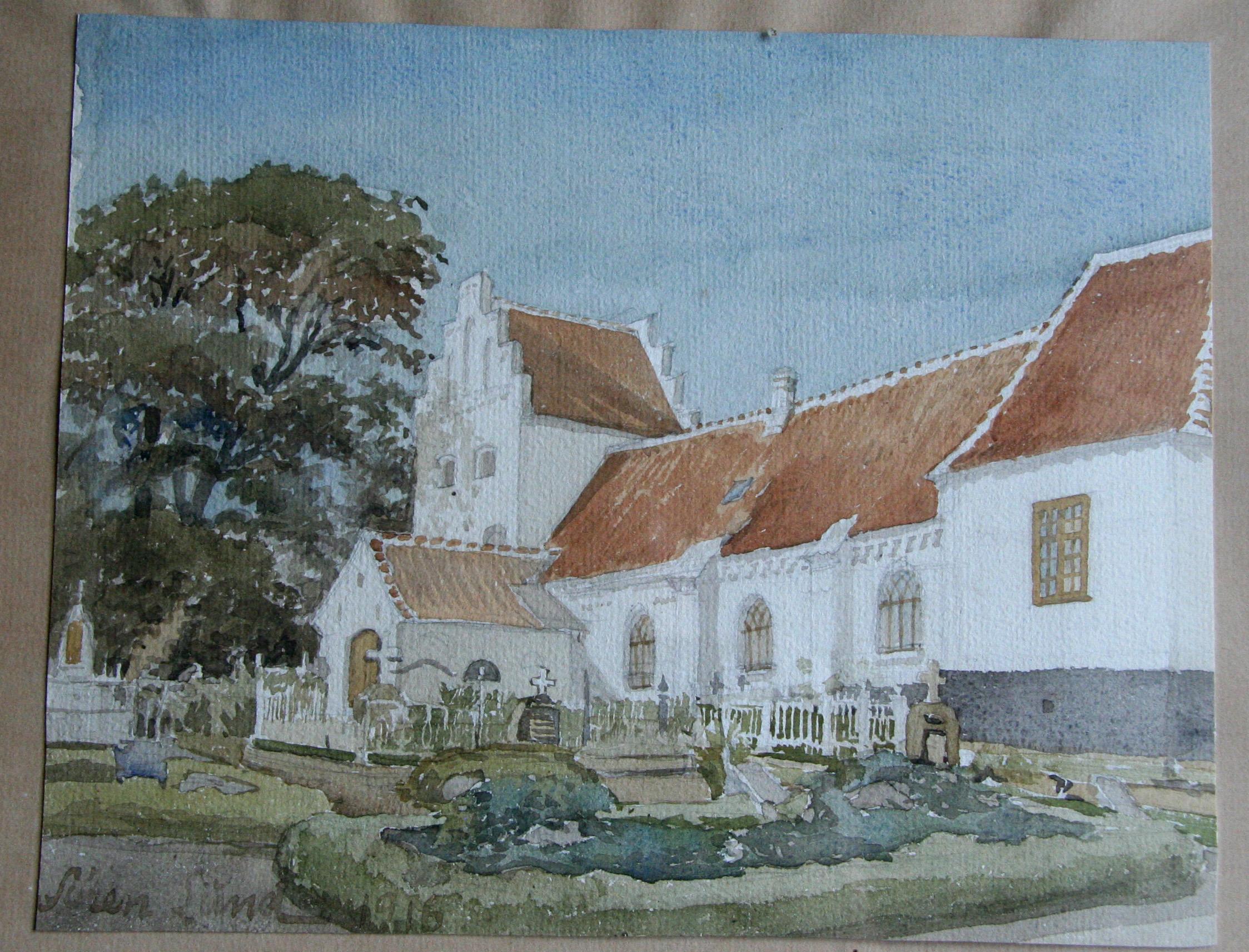 Kirken fra sydøst (ved kirkegårdslågen)